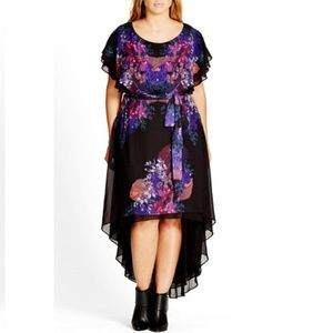 'Dream Catcher' Belted Floral Print High/Low Dress